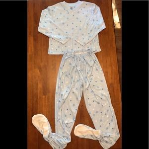 GUC 2 pc fleece footed pajama set blue size Small